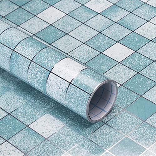LZYMLG 0,45x3 mt Mosaik Anti Öl Wandaufkleber Selbstklebende Küche Herd Kunst Aufkleber Aluminiumfolie Tapete Bad Wasserdicht Aufkleber Himmelblau
