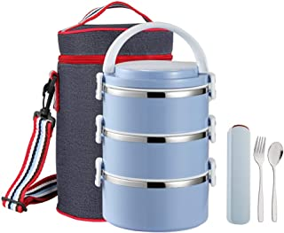 YBOBK HOME Leak Proof Lunch Box Insulated Stainless Steel Bento Lunch Box with Bag and Flatware Set Thermal All-in-1 Lock and Lock Stackable Lunch Box with Lid for Adults and Students (3-Tier, Blue)