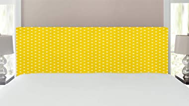 Ambesonne Vintage Yellow Headboard, Traditional Polka Dot Pattern Traditional European Spotty Retro Design, Upholstered Decor