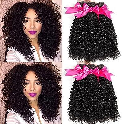 Hermosa 10A Brazilian Curly Hair 3 Bundles Good Quality Curly Weave Human Hair Unprocessed Brazilian Virgin Hair Black Color