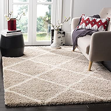 Safavieh Hudson Shag Collection SGH281S Beige and Ivory Moroccan Diamond Trellis Area Rug (4' x 6')