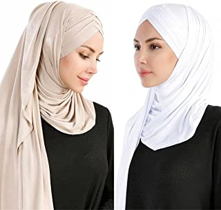 Women 2PCS Set Jersey Hijab Lightweight Soft Solid Color Instant Hijab Shawls and Wraps Muslim Stretch Head Scarf