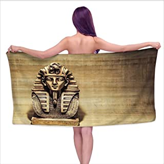 Glifporia Popular Bath Towels Egyptian Decor Collection,Stone Pharaoh Tutankhamun Mask Sculpture Papyrus Background Design,Ivory Beige Gold,W12 xL35 for Bathroom Striped