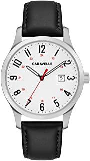 Caravelle Men's Stainless Steel Quartz Watch with Leather Calfskin Strap, Black, 15 (Model: 43B152)