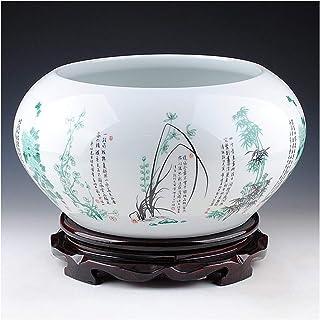 MUZIWENJU Adornos de cerámica, pecera de Nieve, Cilindro de Lirio de Agua, Tanque