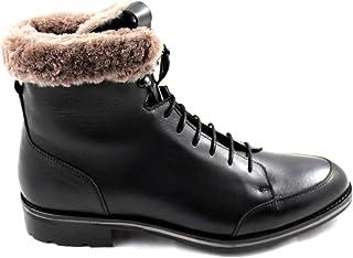 CANNERI Stivali Uomo - Nero - 9233 - Stivali Stringati - Stivali Invernali in Pelle con Fodera in Pelle di Agnello