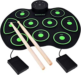 Yunkoo Electronic Drum Set, 9 Keys Electric Drums Foldable Roll Up Portable Practice Pads (No Speaker and Battery) Best Gift for Beginner Drummers and Birthday or Christmas Presents for Kids