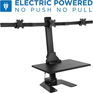 Mount-It! Triple Monitor Electric Standing Desk Converter | Height Adjustable Sit-Stand Converting Desk for Home, Office | Stand-Up Computer Workstation with Three Monitor Mount