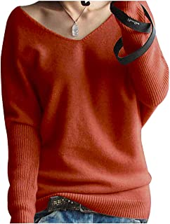 Women's Fashion Big V-Neck Pullover Loose Sexy Batwing Sleeve Wool Cashmere Sweater Winter Tops