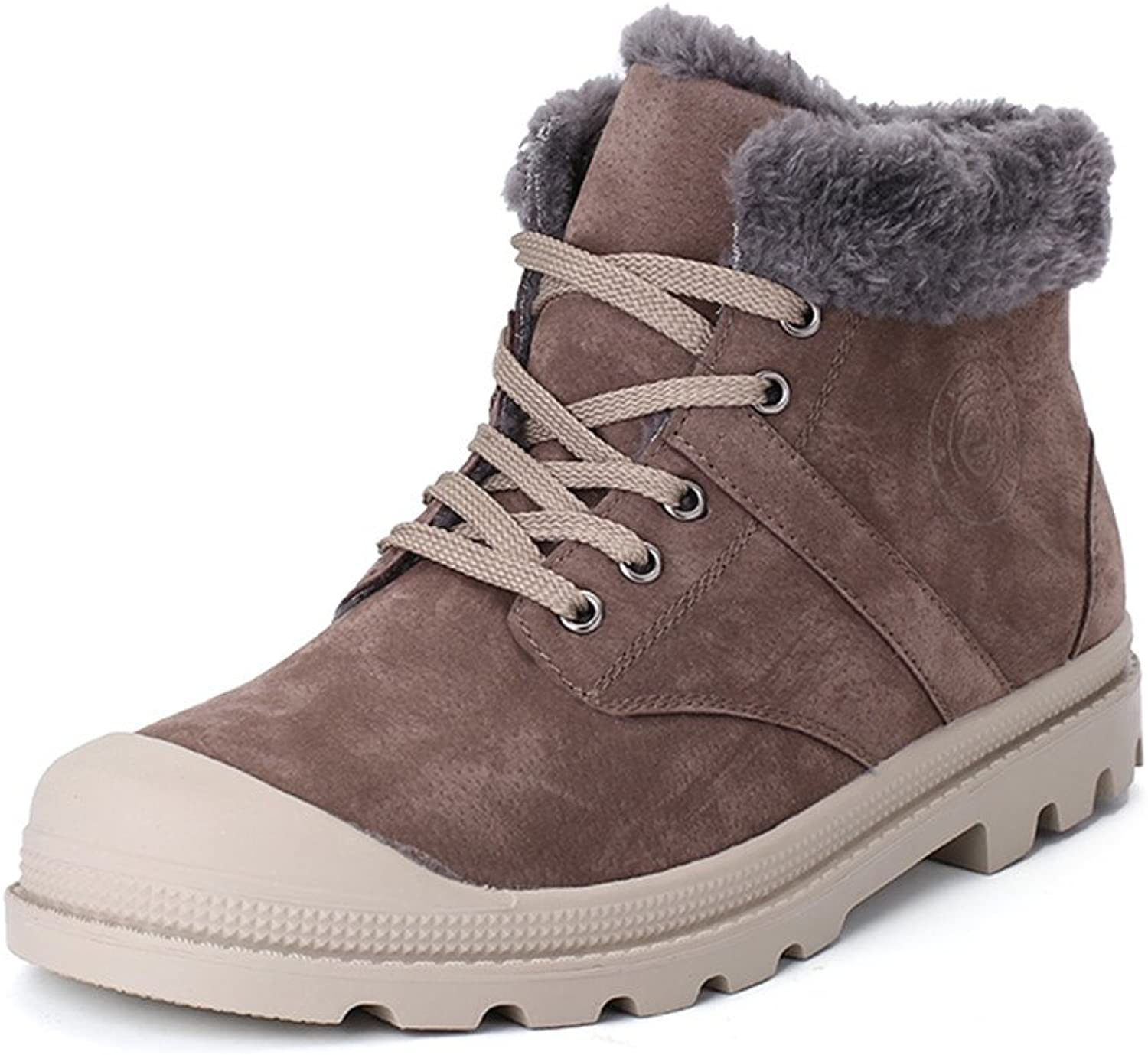 DUODUO Men's 8909 Winter Suede Fur Lining Snow Boots