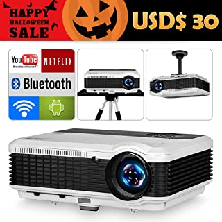 EUG HD Video Projectors with Bluetooth WiFi 4600 Lumen Android 6.0 LED Home Wireless Projector, Compatible with Fire TV, Smartphone, iPhone, PS4, HDMI USB VGA for Movies Games Arts Entertainment
