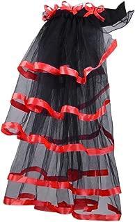 Women's Victorian Steampunk Skirt Tulle Bustle Costume Ribbon Asymmetrical High Low Tutu Underskirt
