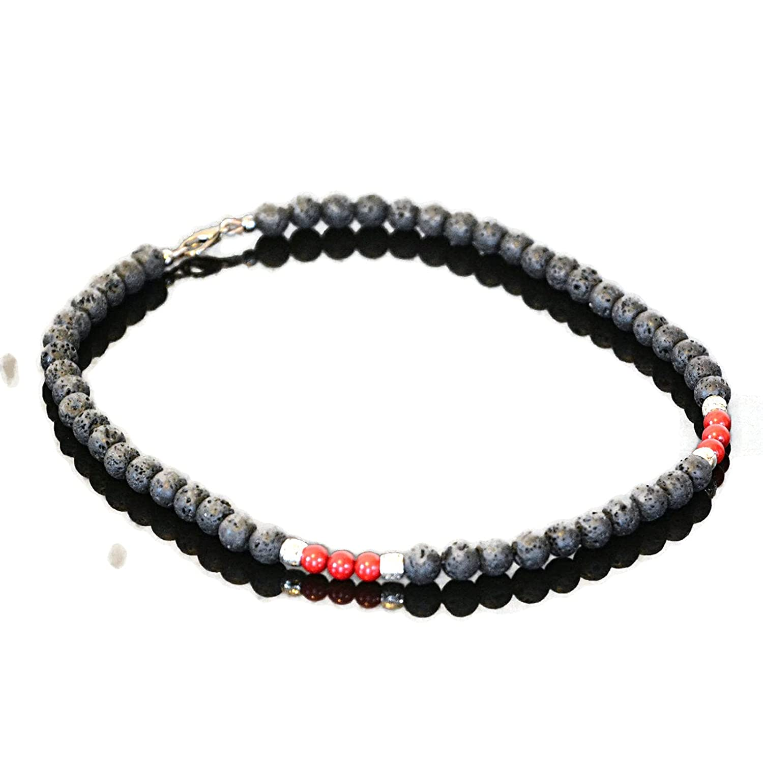 Beaded Choker Sale special price Necklace All items free shipping for Men Black Coral and Lava Red Volcanic