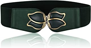 Wenecho Women's Waist Belts Wide Elastic Stretch Cinch Belt with Fashion Metal Interlock Buckle