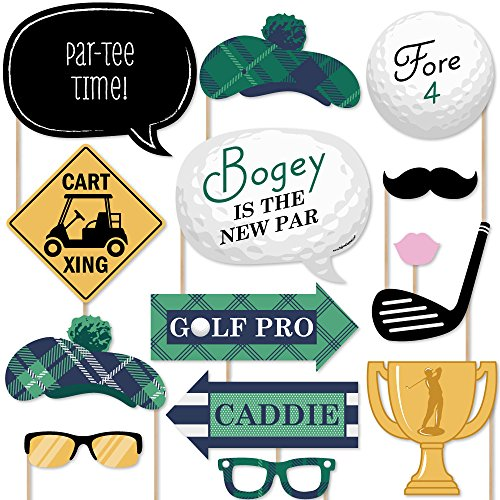 Big Dot of Happiness Par-Tee Time - Golf - Photo Booth Props Kit - 20 Count