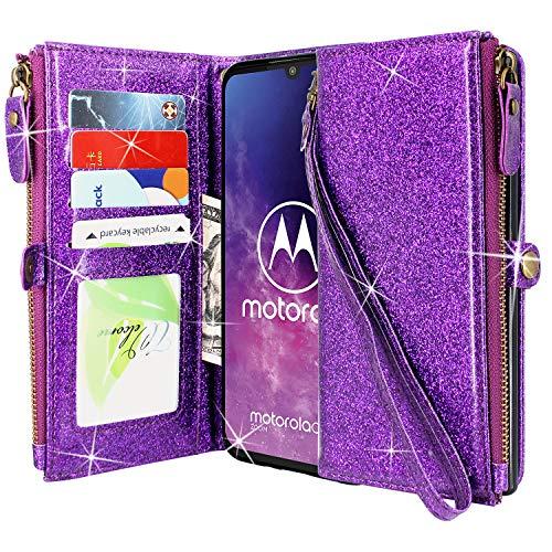 CMID Motorola One Zoom Hülle, PU Leder Brieftasche Handytasche Flip Bookcase Schutzhülle Cover [Ständer][Handschlaufe] für Motorola Moto One Zoom (Reißverschluss Lila)