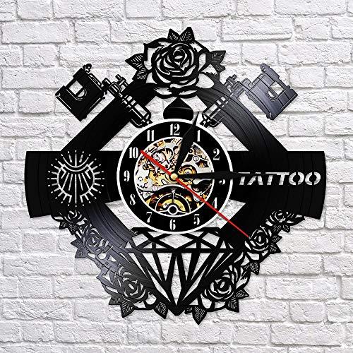 BFMBCHDJ Tattoo Studio Sign Nome del Tatuaggio Silenzioso Vinile Record Clcok Tattoo Shop Tattoo Machine Decorazione della Parete Hipster Uomo Regalo Nessun LED 12 Pollici