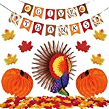 104 Pieces Thanksgiving Party Table Decorations, Includes Give Thanks Bunting Banner, Thanksgiving Turkey Centerpiece, 2 Pieces Paper Honeycomb Pumpkin, 100 Pieces Artificial Maple Leaves