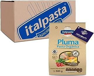 Italpasta Pluma Rayada Pasta Orgánica con Vegetales, 500 gr, 12 bolsas