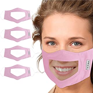 IXnzadn 4pcs Men & Women Visual Cloth Cover Dustproof Skin Shield Lips Communication Face Accessories Covers (Pink)
