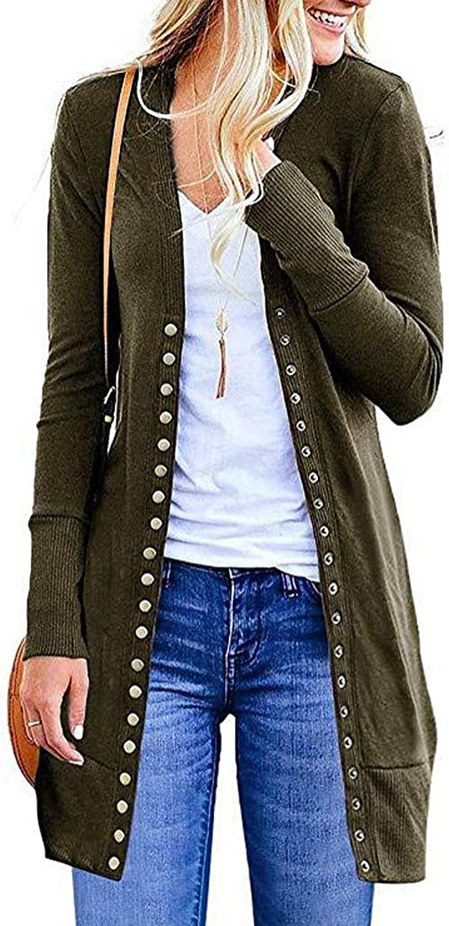 Sweaters for Women,Women's Long Sleeve Snap Button Down Solid Color Knit Ribbed Neckline Cardigan Sweaters