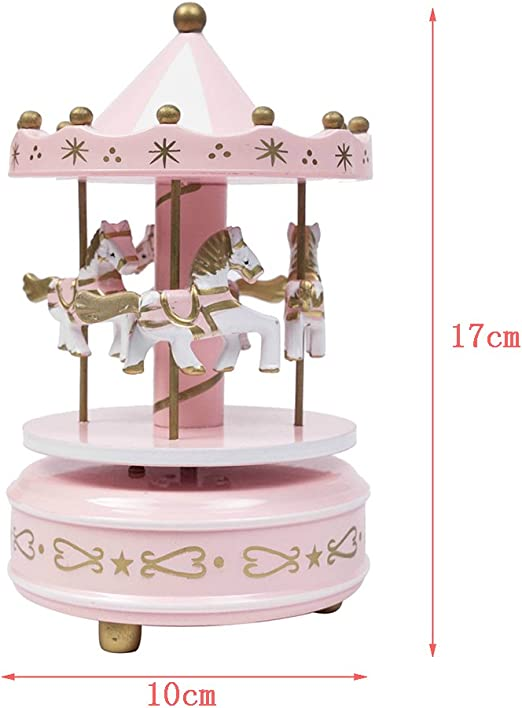 Wooden Circus 4 Horse Carousel Music Box Home Decoration Decor Gift l0z1 C5A2