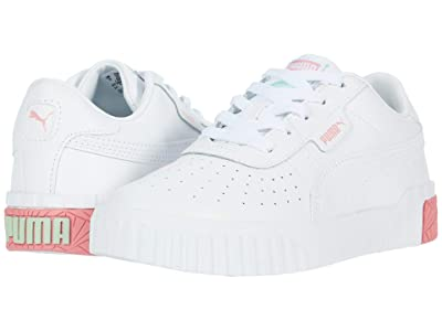 Puma Kids Cali (Little Kid) (White/Peony/Mist Green) Girls Shoes