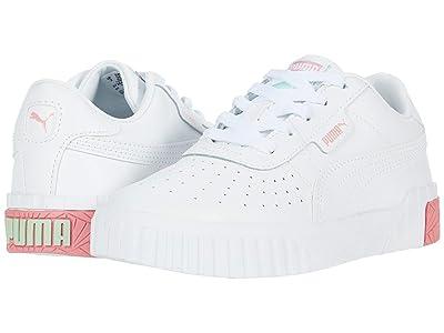 Puma Kids Cali (Little Kid) (White/Peony/Mist Green) Girls Shoes