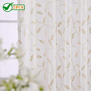 Twin Six Embroidered Curtains Thick Floral Design Faux Linen Drapes Rod Pocket with 7 Back Loops for Bedroom/Living Room (Ivory White/Tan, W52 x L84,2Panels)