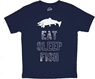 Youth Eat Sleep Fish T Shirt Funny Fishing Tee for Kids