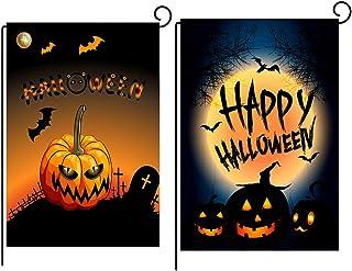 Bandera de halloween - WENTS 2 Piezas 47x32cm Doble Cara de Satén de Calabaza para Jardín de Halloween, Diseño de Bandera ...