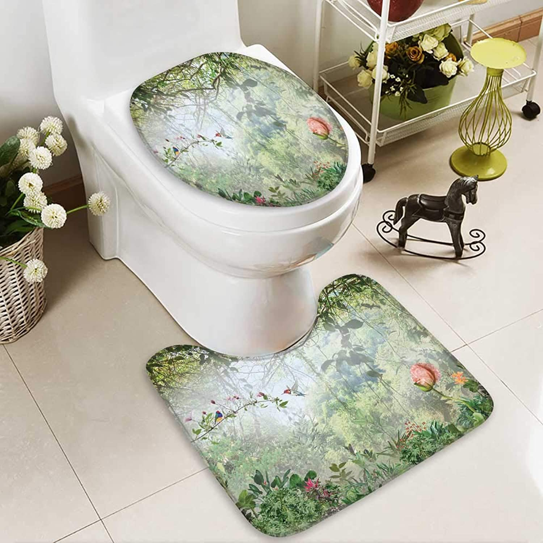 Analisahome Cushion Non-Slip Toilet Mat Jungle 358940567 Soft Non-Slip Water