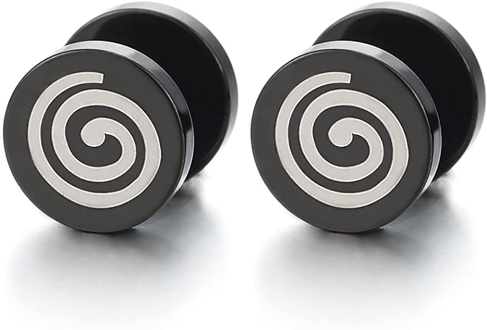 2pcs Steel Black Circle Spiral Stud Earrings for Mens Women, Cheater Fake Ear Plugs Gauges Tunnel