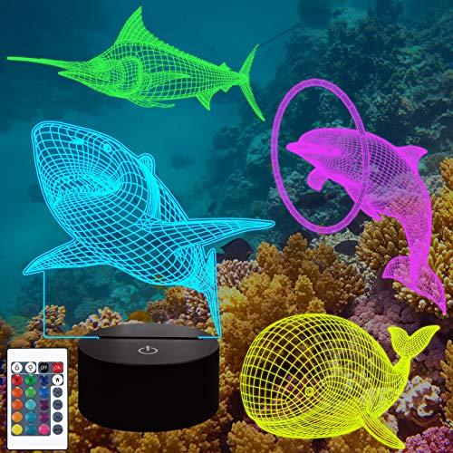 CooPark 3D LED Ocean Animal Night Light 4 estilo y 16 colores que cambian la lámpara de decoración con control remoto para niños niñas niños, regalo de cumpleaños para niños con cable USB