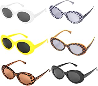 1b8be8de1c 6 Piezas de Gafas de sol de Clout Googles Retro Oval Sunglasses para  Mujeres Hombres Niños