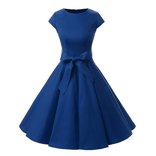 c28de7298b5fd0 Dressystar Women Vintage 1950s Retro Rockabilly Prom Dresses Cap-Sleeve