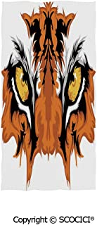 SCOCICI Bath Towels for Teen Adults,Tiger Eyes Graphic Mascot Animal Face Bengal Cat African Safari Predator Theme Decorative,Unisex Travel Towel (One Size)