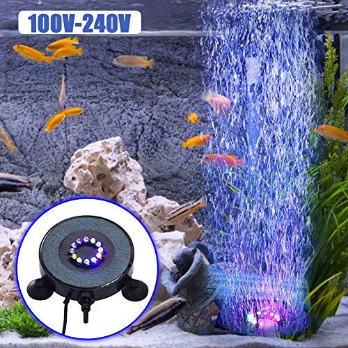 KINJOHI Aquarium Bubble Light, Aquarium Luft Stein LED Tauch Aquarium Sauerstoff Licht Adsorbierbare Bunte Unterwasser Bubble Lampe mit 6 LED Lichtern für Aquarium Fischteiche Dekoration