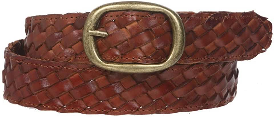 "1 1/4"" Braided Woven Leather Oval Belt"