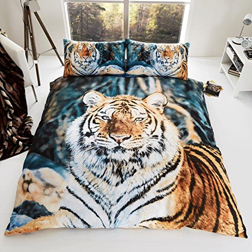 Gaveno Cavailia 3D WILDLIFE BROWN TIGER Bed Set with Duvet Cover and Pillow Case, Polyester-Cotton, Multi, Double