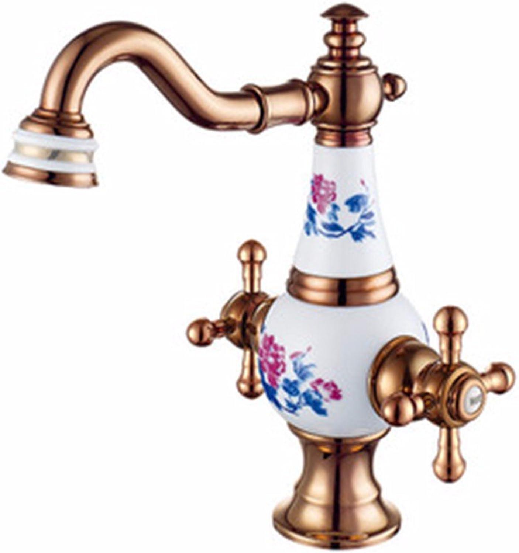 Bijjaladeva Wasserhahn Bad Wasserfall Mischbatterie Waschbecken Waschtisch Armatur für BadWasseranschlu Waschbecken Warmes und Kaltes Keramik Voll Kupfer Golden Dragon Head R