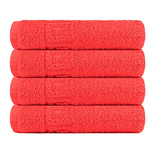 Msrugs Hand Towels for Bathroom - 100% Cotton - Soft/Luxury - Perfect Bath Hand Towel/Hotel Hand Towels/Spa Hand Towels/Kitchen Hand Towels/Golf Hand Towel/Tropical Hand Towel (4, Red)