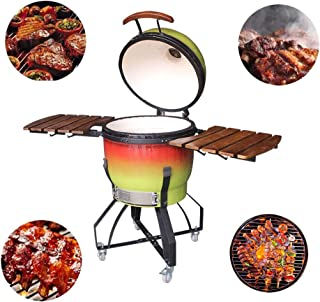 """21"""" Outdoor Charcoal Pizza Oven Grill BBQ Kamado, Gradient Color Ceramic Barbecue Stove for Picnic Garden Terrace Camping ..."""
