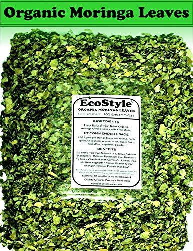 Organic Moringa Leaves | 100% Pure Moringa Tea | Premium Quality| 3.5 Oz (100gm) | Hojas De Moringa | Shade Dried Malunggay Leaves | Moringa Olifera Powder Smoothie, Ben Oil | Non-GMO | By Ecostyle !