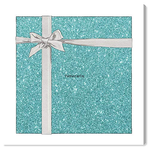 """The Oliver Gal Artist Co. Fashion and Glam Wall Art Canvas Prints 'Jewelry Gift Box Glitter' Home Décor, 12"""" x 12"""", Blue, Gray"""