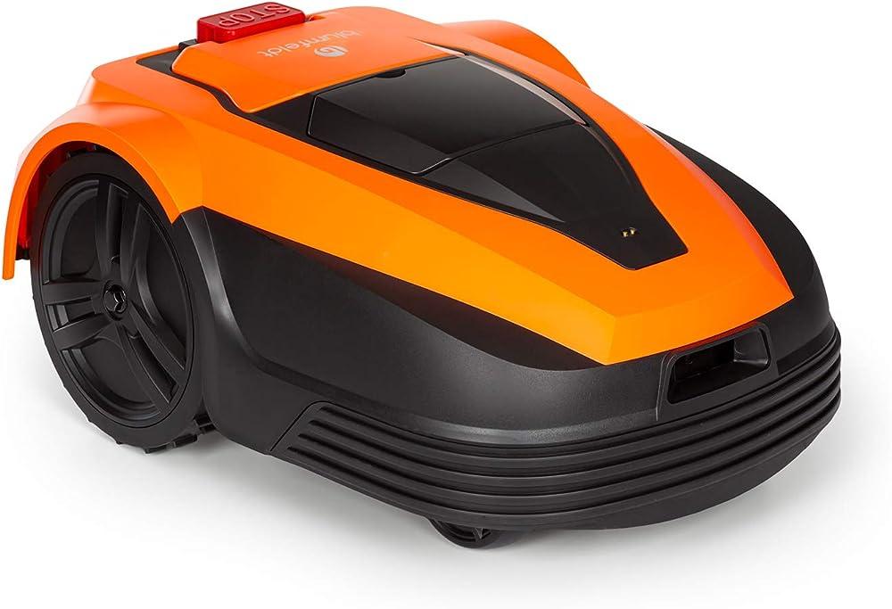 blumfeldt Garden Hero – Robot cortacésped, batería de Litio de 5,2 Ah, Incluye estación de Carga, Carga automática, autonomía de hasta 180 min, Superficie de hasta 1.200 m², Certificado IPX4, Naranja