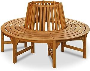 Baumbank 360° | FSC®-zertifiziertes Eukalyptusholz | Ø 190 cm | Vorgeölt | Rundbank Gartenbank Holzbank Bank