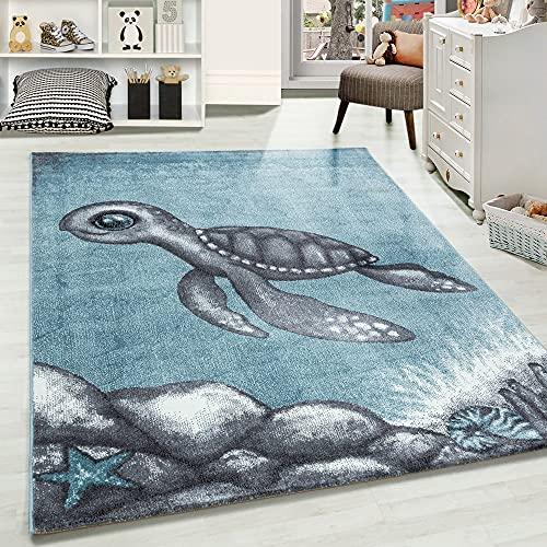 Carpetsale24 Kinderteppich, kurzflor Kinderzimmerteppich, Schildkröte Babyzimmer, BLAU, Maße:120 cm x 120 cm Rund