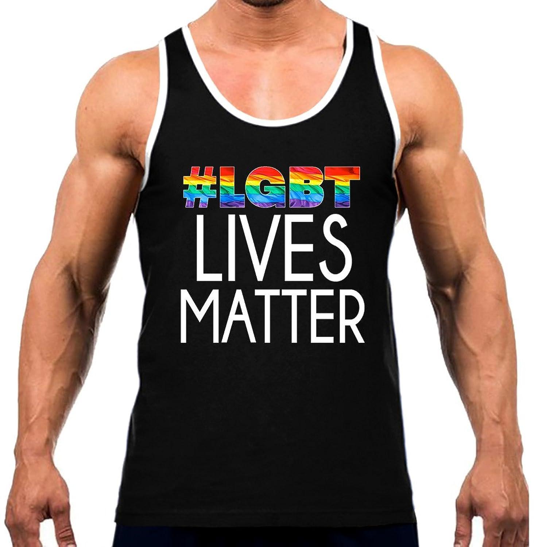 メンズレインボー# Lgbt Lives Matter Teeホワイトトリムブラックタンクトップブラック
