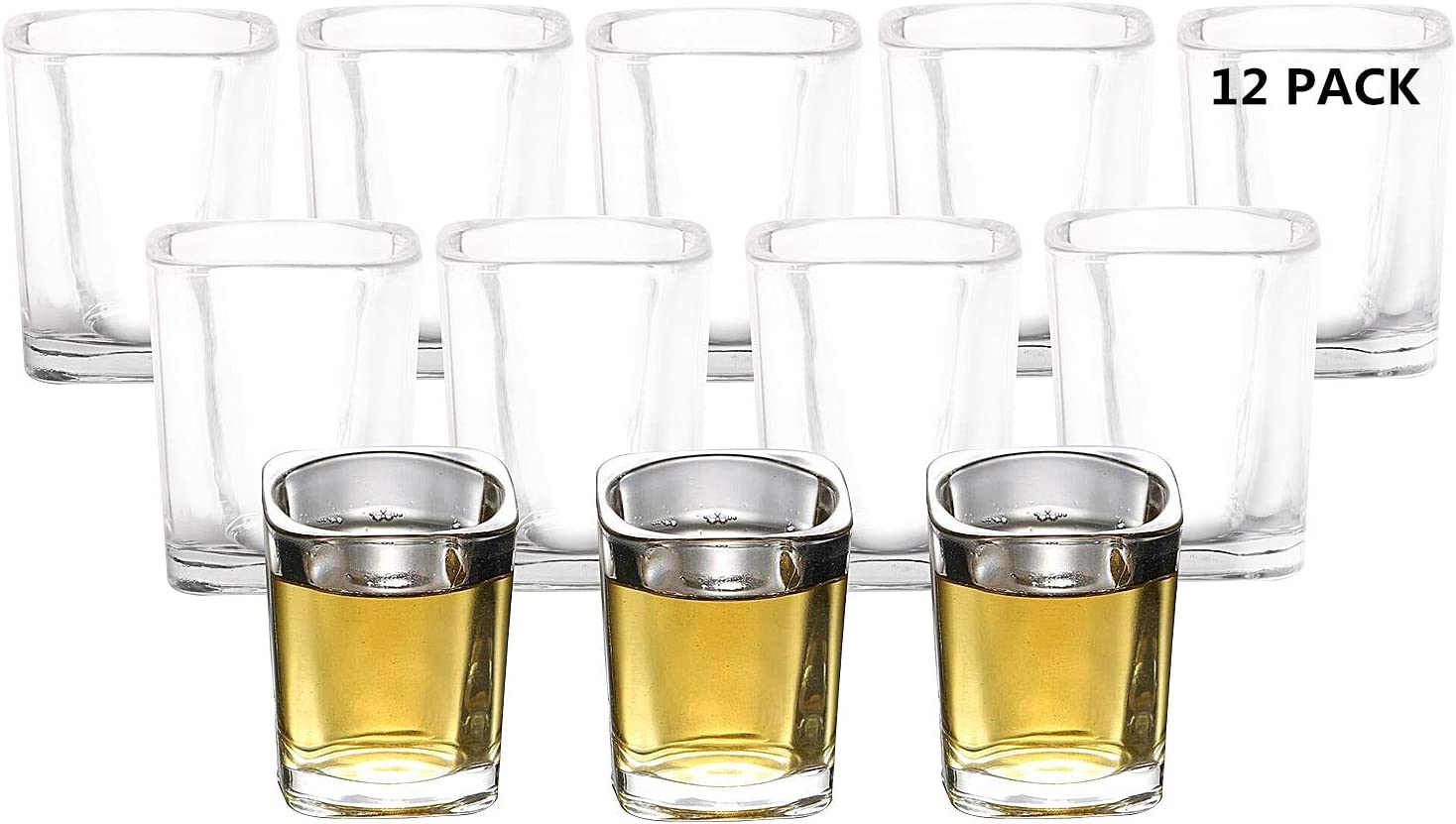 RUCKAE 12-Pack Heavy Base Shot Don't miss the campaign OFFicial Glasse Glasses Clear 2-Ounce